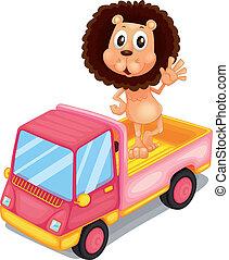 cor-de-rosa, carga, costas, waving, leão, caminhão