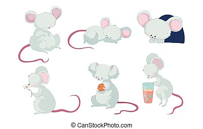 cor-de-rosa, caricatura, personagem, vetorial, segurando, dormir, laje, rato, rabo, longo, jogo, queijo
