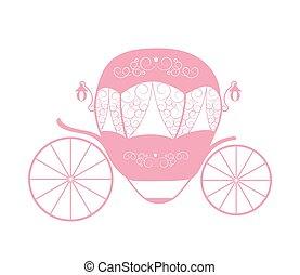 cor-de-rosa, carriage., fairytale, cinderela, ilustração, vetorial, princesa