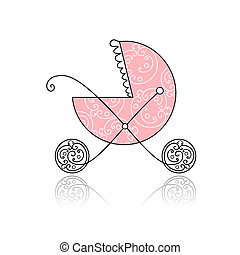 cor-de-rosa, carruagem bebê, desenho, seu