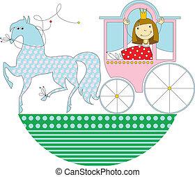 cor-de-rosa, carruagem, princesa