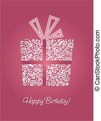 cor-de-rosa, cartão aniversário, feliz