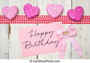 cor-de-rosa, cartão, com, a, inscrição, feliz aniversário