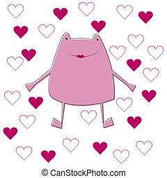 cor-de-rosa, cartão, ilustração, rã
