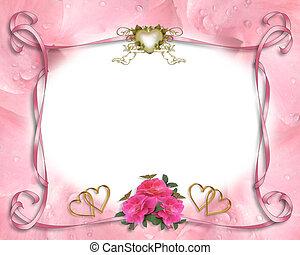 cor-de-rosa, casório, borda, convite