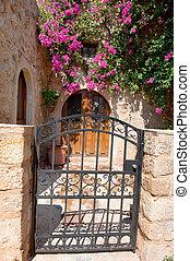 cor-de-rosa, casa, flores, exterior, grécia