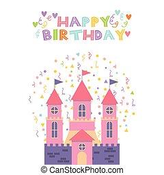 cor-de-rosa, castelo, cartão aniversário