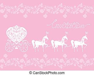 cor-de-rosa, cavalos, renda, carriage., ornament., -, saudação, mão, floral, fundo, convite, text., desenhado, branca, cartão