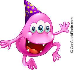 cor-de-rosa, celebrando, beanie, monstro