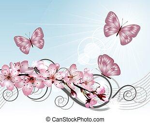 cor-de-rosa, cereja, florescer, sakura, ramo, flores