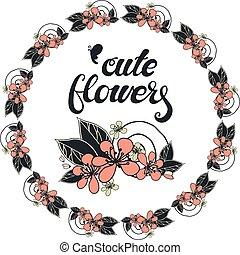 cor-de-rosa, cereja, flowers., redondo, guirlanda
