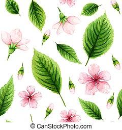 cor-de-rosa, cereja, primavera, folhas, seamless, aquarela, experiência., verde, padrão, flores brancas