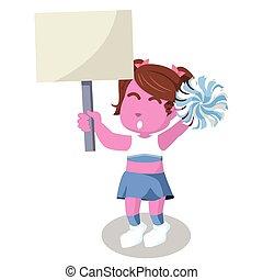 cor-de-rosa, cheerleader, segurando, sinal, coloridos