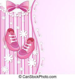 cor-de-rosa, chuva bebê, cartão
