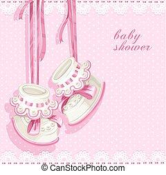 cor-de-rosa, chuveiro, cartão, booties, bebê