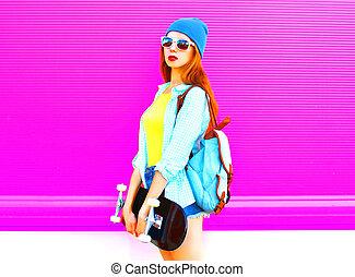 cor-de-rosa, cidade, mulher, skateboard, jovem, moda, fundo