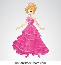 cor-de-rosa, cinderela, vestido, beleza