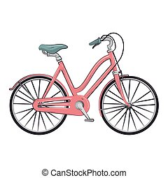 cor-de-rosa, clássicas, bicicleta