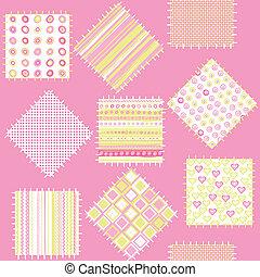 cor-de-rosa, cobertor bebê, meninas, remendos