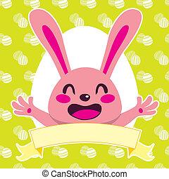 cor-de-rosa, coelhinho, feliz