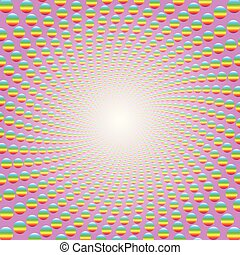 cor-de-rosa, colorido, padrão, espiral, luminoso, centro
