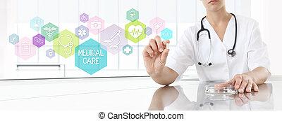 cor-de-rosa, conceito, doutor, médico, icons., saúde, segurando, medicina, pílula, cuidado