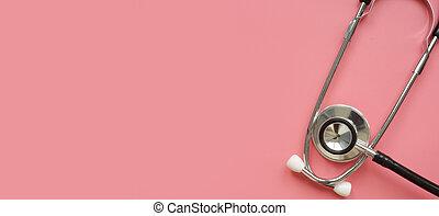 cor-de-rosa, concept., saúde, estetoscópio, cuidado, surface., mulheres
