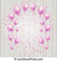 cor-de-rosa, confetti, balões, fundo, celebração