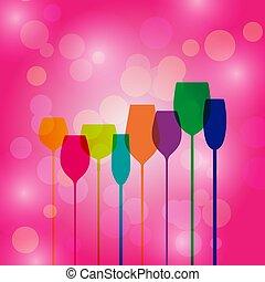 cor-de-rosa, coquetel, silhuetas, bokeh, fundo, partido, óculos