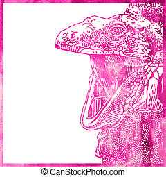 cor-de-rosa, cor, aquarela, fundo, animal