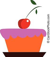 cor-de-rosa, cor, cereja, ilustração, decoração, vetorial, bolo, ou