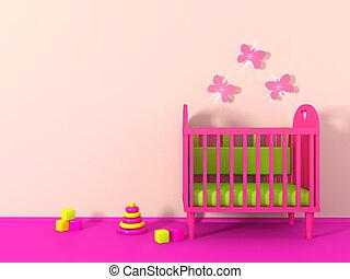 cor-de-rosa, cor, quarto menina, 3d