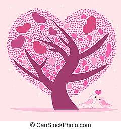 cor-de-rosa, coração, árvore, leaves., valentine, forma, desenho, seu