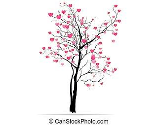 Cor-de-rosa, Coração, Amor, cor,  valentines, árvore, tendo, formas, outro, fundo, ocasiões, branca, Dia, vermelho