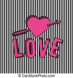 cor-de-rosa, coração, amor, sinal, texto, ilustração, vetorial, seta, elegante, 3d