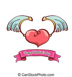 cor-de-rosa, coração, anjo, dia dos namorados, vetorial, asas