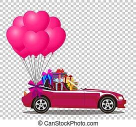 cor-de-rosa, coração, cabriolé, car, presentes, balões, grupo