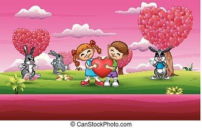 cor-de-rosa, coração, coelho, muitos, par, segurando, criança, caricatura, jardim, feliz