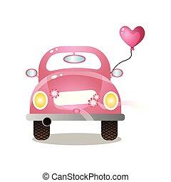 cor-de-rosa, coração, coloridos, car, par, retro, balloon