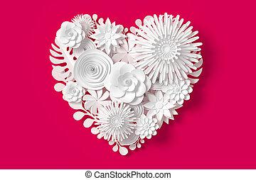 cor-de-rosa, coração, cortando, fazendo, fundo, flores brancas, path., forma, vermelho