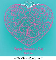 cor-de-rosa, coração, experiência azul