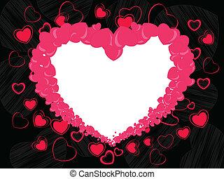 cor-de-rosa, coração, feito, occasions., espaço, abstratos, valentines, seamless, quadro, forma, outro, experiência preta, cópia, dia