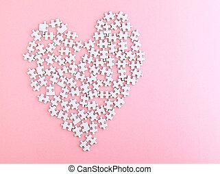 cor-de-rosa, coração, feito, quebra-cabeça, fundo, afiado