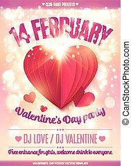 cor-de-rosa, coração, fevereiro 14, valentine, luz, dobrado,...