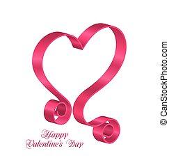 cor-de-rosa, coração, forma, valentines, fita, dia, fita,...