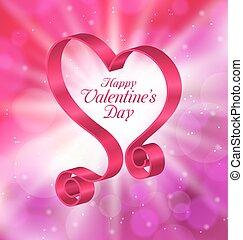 cor-de-rosa, coração, forma, valentines, looping, dia, fita,...