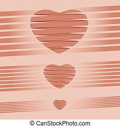 cor-de-rosa, coração, ilustração, vetorial, fundo, origami