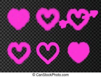 cor-de-rosa, coração, isolado, experiência., transparente,...