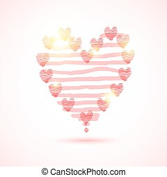 cor-de-rosa, coração, listrado