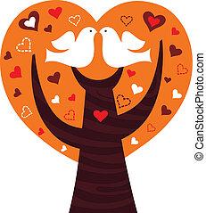 cor-de-rosa, coração, par, árvore, isolado, branca, pássaros
